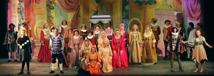 Cinderella Pantomime Broxbourne: Major Domo and Buttons with Villagers