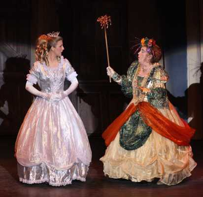Cinderella Pantomime Broxbourne: Cinderella in Ballroom Dress with Fairy Godmother