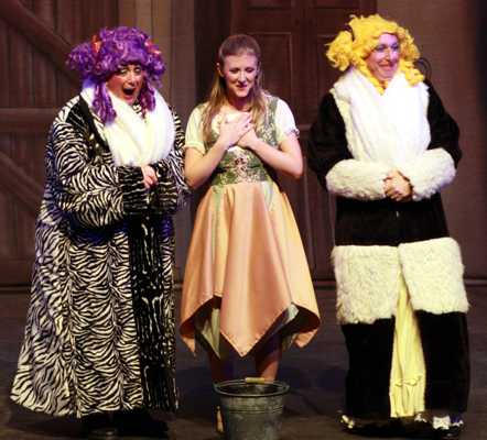 Cinderella Pantomime Broxbourne: Ugly Sisters and Cinderella with Invitation to the Ball