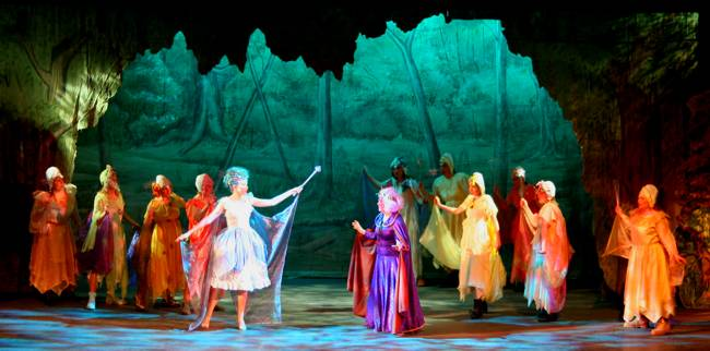 Witch, Fairy and fairies in Broxbourne Theatre Company Pantomime at Broxbourne Civic Hall